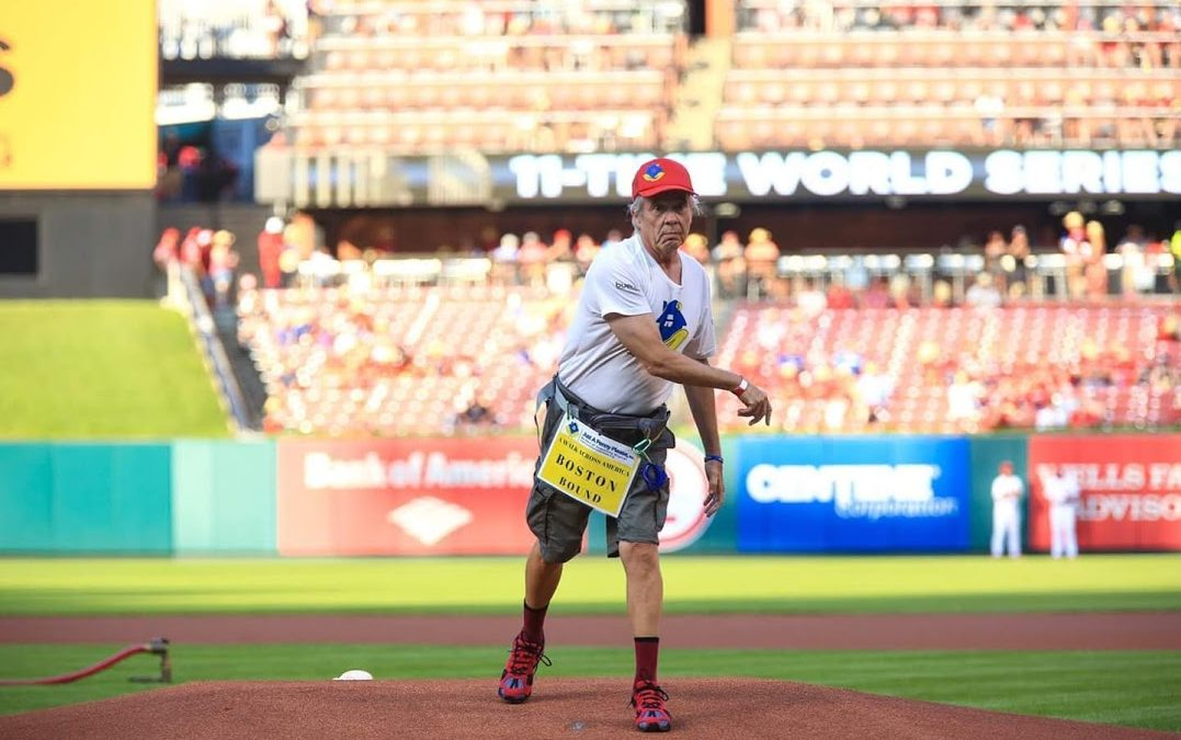 Reshod Walking Shoes Customer Throws Out the First Pitch at the Cardinals vs. Reds Game in St. Louis